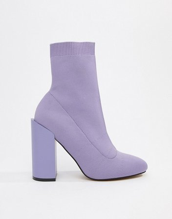 ASOS DESIGN Enchanted knitted sock boots in lilac | ASOS