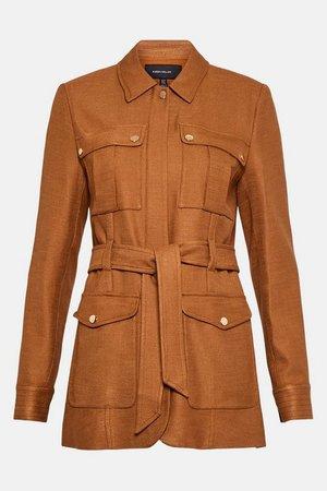 Luxe Stretch Twill Utility Jacket | Karen Millen