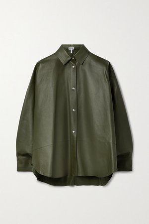Oversized Leather Shirt - Dark green