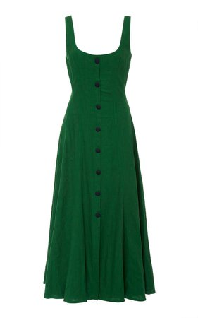 Andres Otalora Baru Buttoned Linen Midi Dress Size: 0