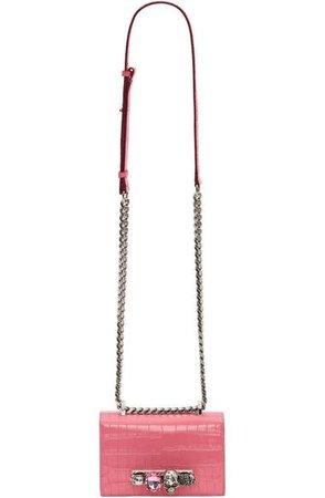 Alexander McQueen Mini Jewelled Croc Embossed Leather Crossbody Bag | Nordstrom