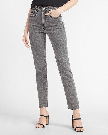 High Waisted Gray Raw Hem Slim Jeans