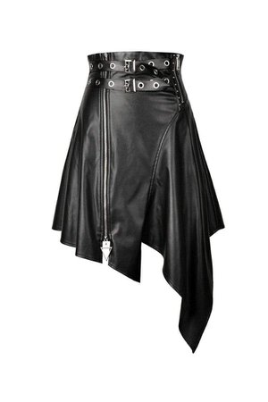 Women's Punk PU Leather Zippered Irregular Midi Skirts – Punk Design