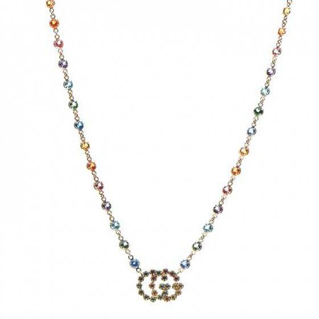 GUCCI 18K Yellow Gold Multistone Double-G Pendant Necklace 260616