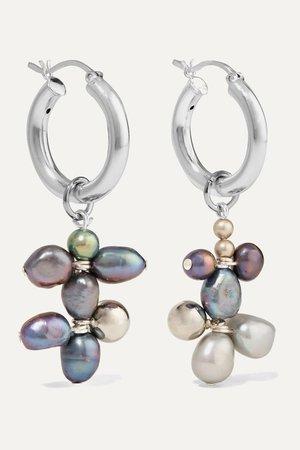 Gray Silver-tone pearl earrings | Mounser | NET-A-PORTER