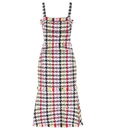 Houndstooth wool-blend dress