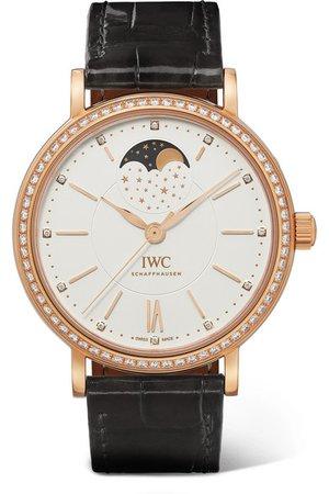 IWC SCHAFFHAUSEN   Portofino Automatic Moon Phase 37mm 18-karat gold, alligator and diamond watch   NET-A-PORTER.COM