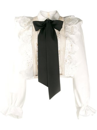 Self-Portrait Ruffled Lace Bow Detail Blouse - Farfetch