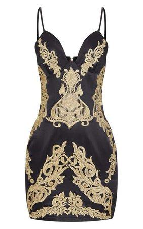 Black Satin Gold Applique Bodycon Dress   PrettyLittleThing