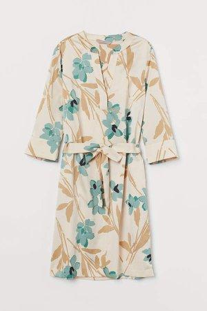 Dress with Tie Belt - Beige