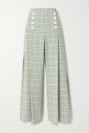 Pleated Checked Cotton-blend Canvas Wide-leg Pants - Green