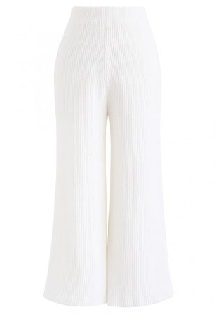 High-Waisted Wide-Leg Knit Pants in White - NEW ARRIVALS - Retro, Indie and Unique Fashion