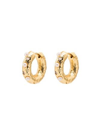 Shop Anni Lu 18kt gold-plated pearl-embellished hoop earrings with Express Delivery - FARFETCH