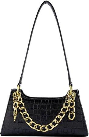 Amazon.com: Ayliss Women Clutch Shoulder Handbag Classic Small Tote Purse Retro Wallet Bag Golden Chain Handbag PU Leather with Zipper (Black): Shoes
