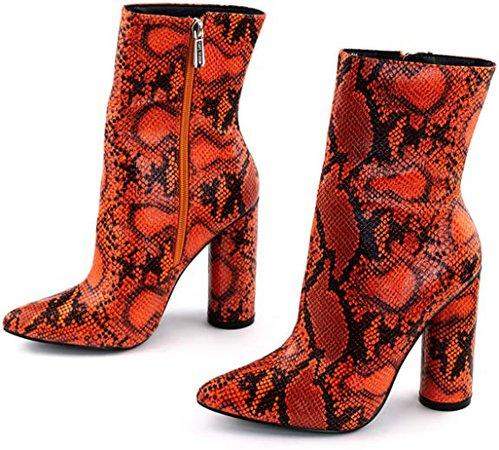 Cape Robbin Boas Women's Ankle Boots, Synthetic Snakeskin Orange, Women's Chunky Heels