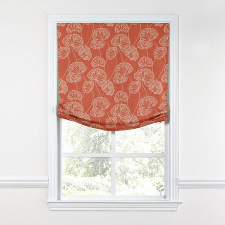 Coral Red Fan Leaf Relaxed Roman Shade | Loom Decor