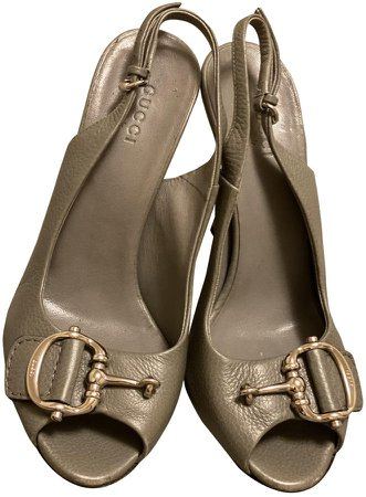 Grey Leather Sandals