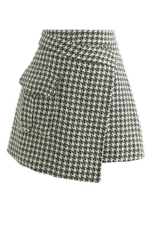 Houndstooth Tweed Asymmetric Mini Skirt in Green - Retro, Indie and Unique Fashion