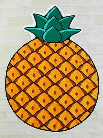 Pineapple Print Asymmetrical Beach Blanket