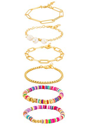 Amber Sceats Embellished Layered Bracelet in Gold | REVOLVE