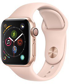 Apple Watch Series 3 (GPS + Cellular), 42mm Gold Aluminum Case with Pink Sand Sport Band - Apple Watch - Jewelry & Watches - Macy's