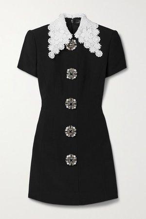 Guipure Lace-trimmed Embellished Crepe Mini Dress - Black