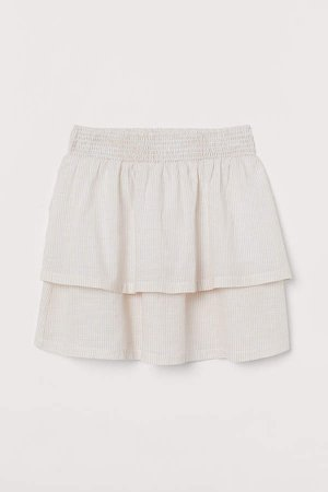 Tiered Cotton Skirt - Beige