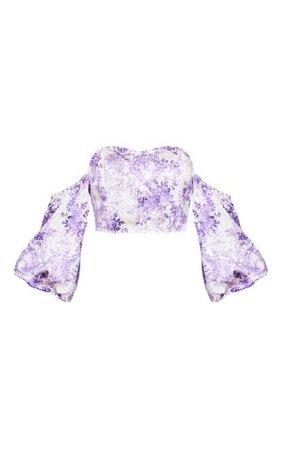 Purple Ditsy Floral Satin Puff Sleeve Bardot Crop Top