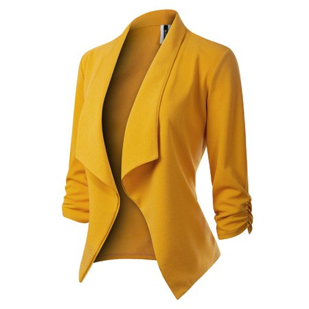 Made by Olivia - Made by Olivia Women's [Made in USA] Classic 3/4 Gathered Sleeve Open Front Blazer Jacket (S-3XL) - Walmart.com - Walmart.com
