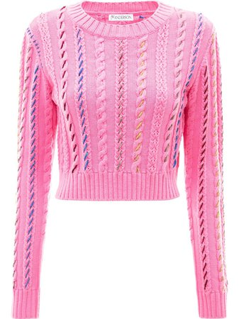 JW Anderson Cropped Darning Crewneck Jumper