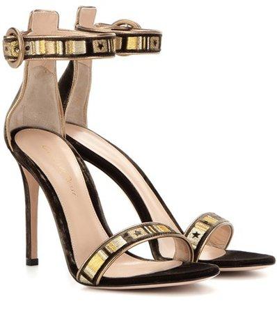 Embroidered velvet sandals