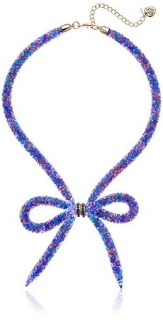 Betsey Johnson Blue Multi-Colored Mesh Bow Frontal Necklace, Multi-Blue/Amy, One Size: Jewelry