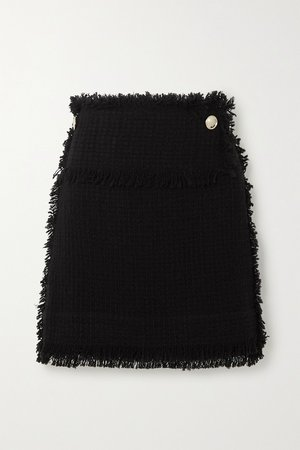 Black Ario frayed bouclé mini skirt | IRO | NET-A-PORTER