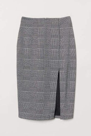 Pencil Skirt with Slit - Black