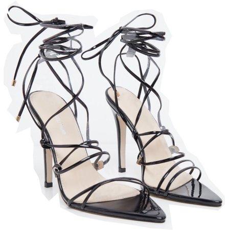 PLT black patent lace up heels