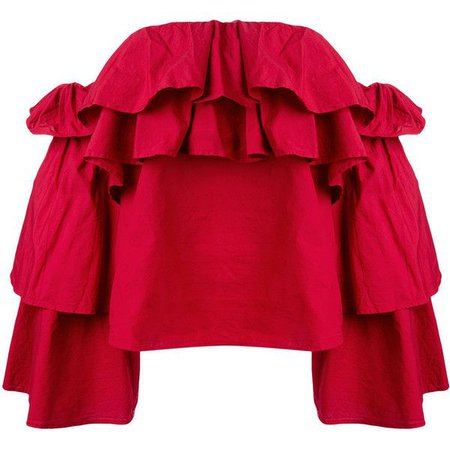 Red Off Shoulder Ruffle Blouse