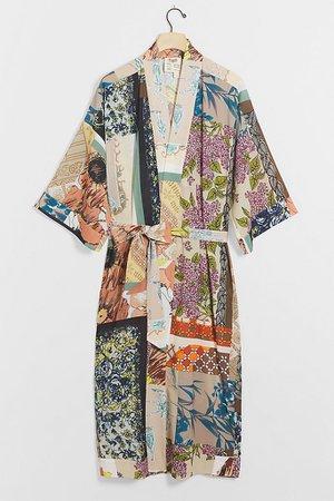 Kasey Patchwork Kimono Robe   Anthropologie