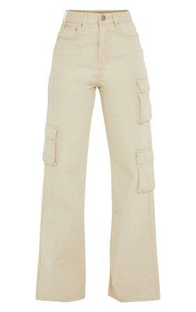Petite Stone Wide Leg Cargo Pocket Jeans | PrettyLittleThing USA