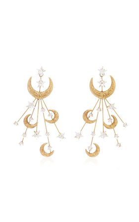 Lunetta Gold-Plated and Crystal Earrings by Jennifer Behr | Moda Operandi