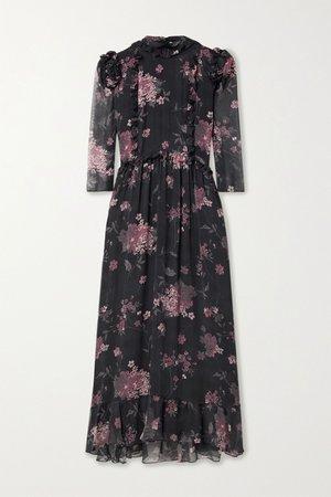 Black Nicolette ruffled floral-print silk-chiffon midi dress | Laura Garcia | NET-A-PORTER