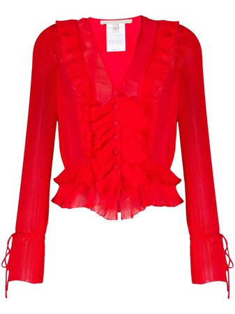 Marco De Vincenzo Pleated Ruffled Blouse MS5112MDVPL07 Red | Farfetch