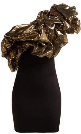 Gold black dress @sunnycea