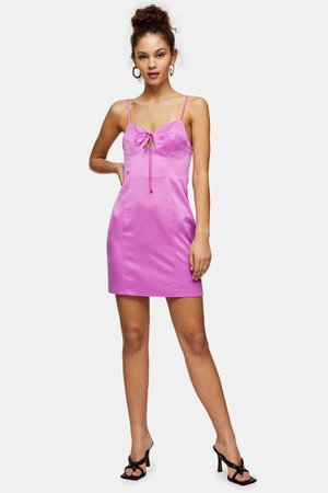 Bubblegum Pink Gathered Bust Slip Dress | Topshop