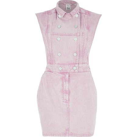 Pink peaked shoulder denim mini dress | River Island