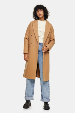 Camel Classic Double Breasted Coat   Topshop
