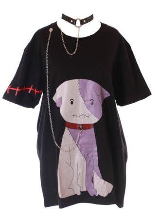 TP-144 Schwarz Devil Zombie Hund Dog Halsband Metallkette Lang T-Shirt Kawaii   eBay