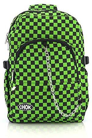 CHECKER BLACK & GREEN BACKPACK RUCKSACK BAG