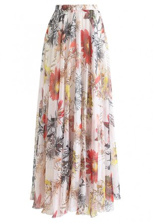 Red Floral Blossom Maxi Skirt - Skirt - BOTTOMS - Retro, Indie and Unique Fashion