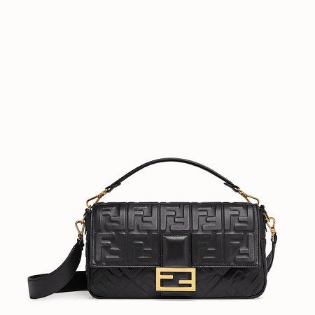 Black leather bag - BAGUETTE LARGE   Fendi