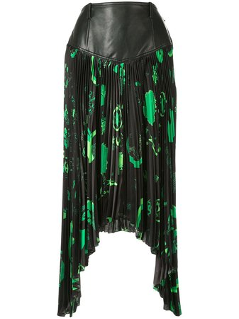 Marine Serre Shamanic Asymmetric Pleated Skirt | Farfetch.com